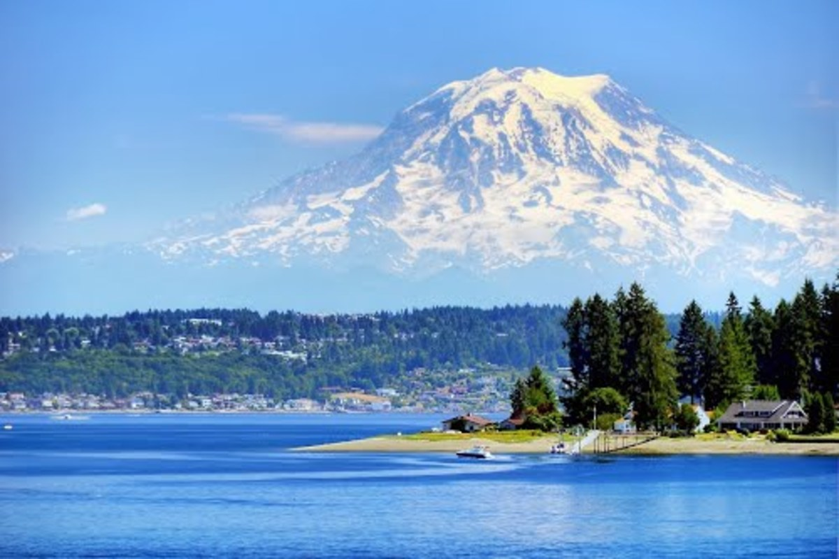 View of Mount Rainier from Fox Island Bridge and the waters of the Puget Sound. Home to many Great Blue Herons.