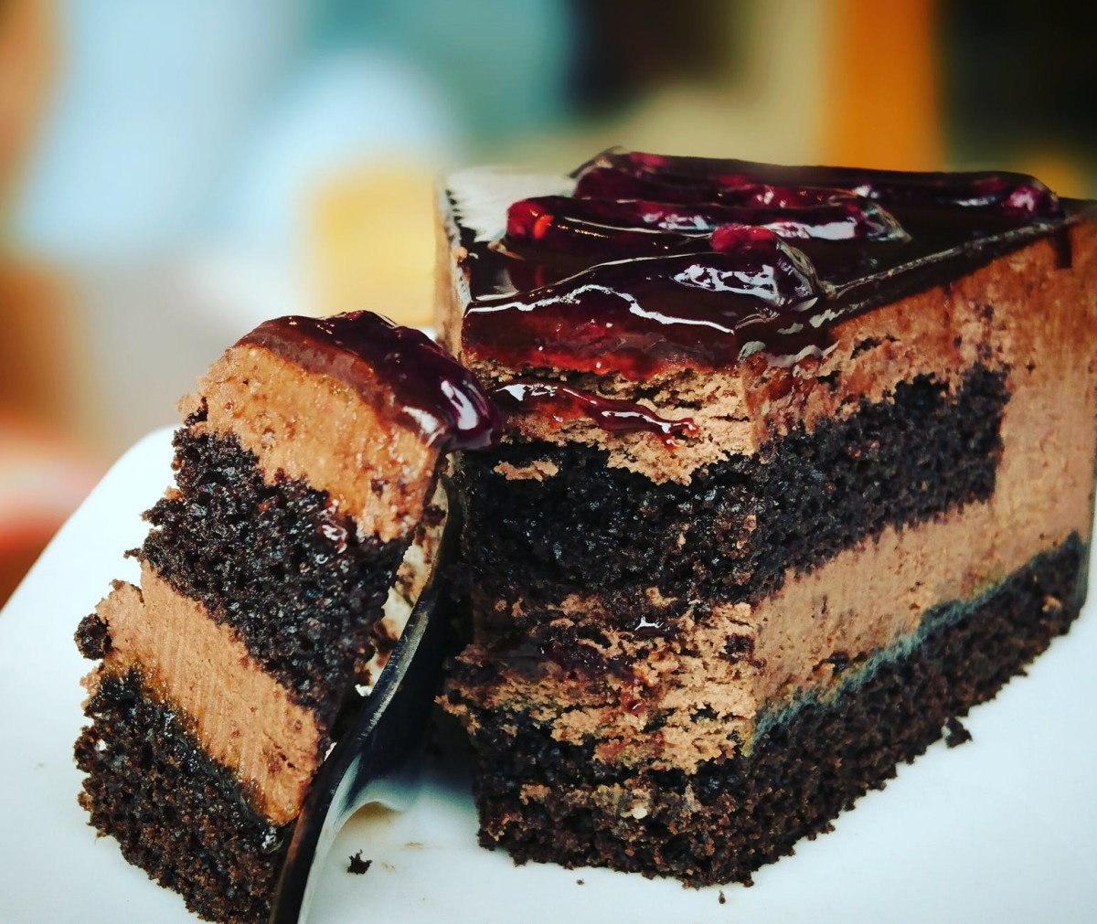 Staring at this delicious chocolate cake will make you hungry.