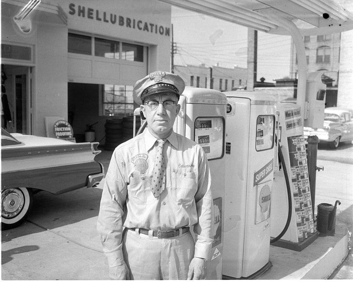Vintage gas station attendant.