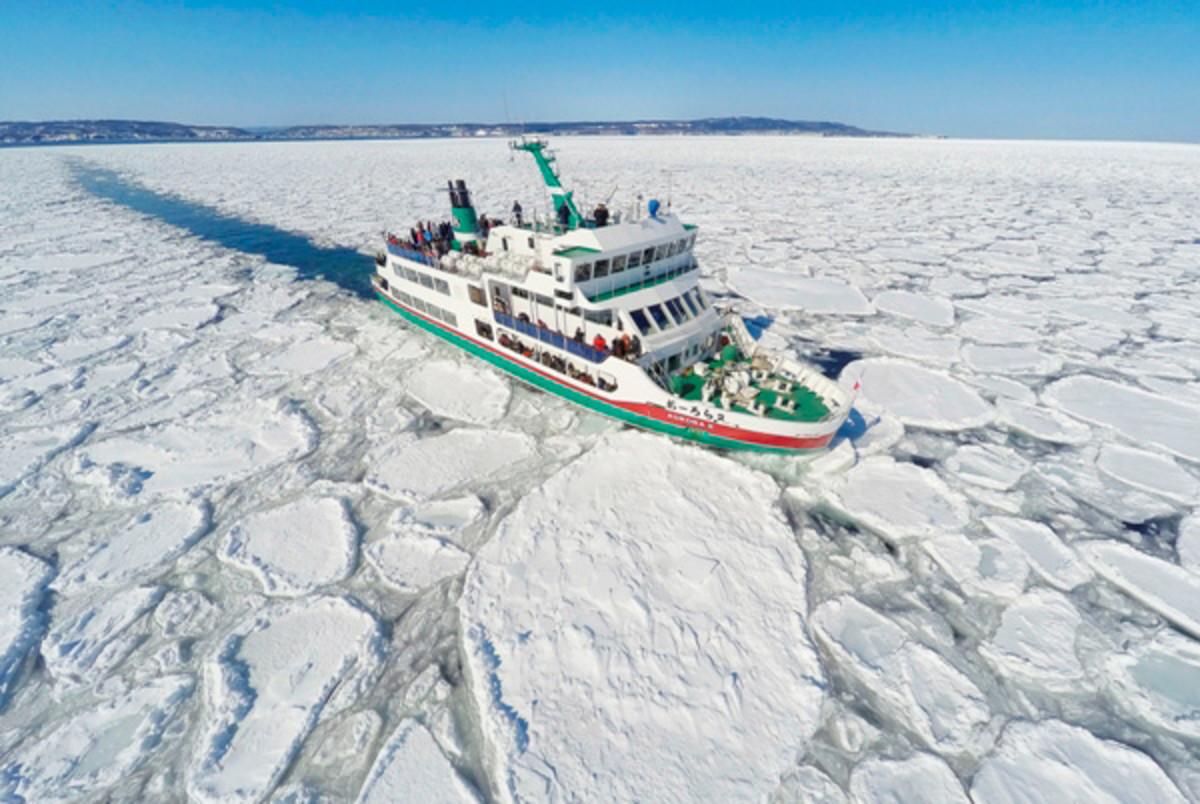 Drift-Ice Sightseeing on an Icebreaker in Shiretoko