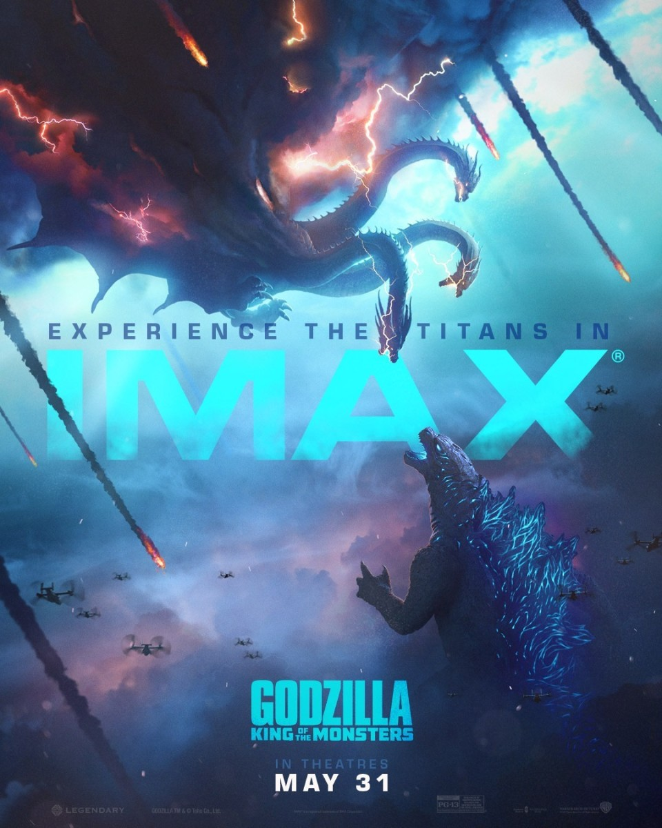 "The US IMAX theatrical poster for, ""Godzilla: King of the Monsters."""