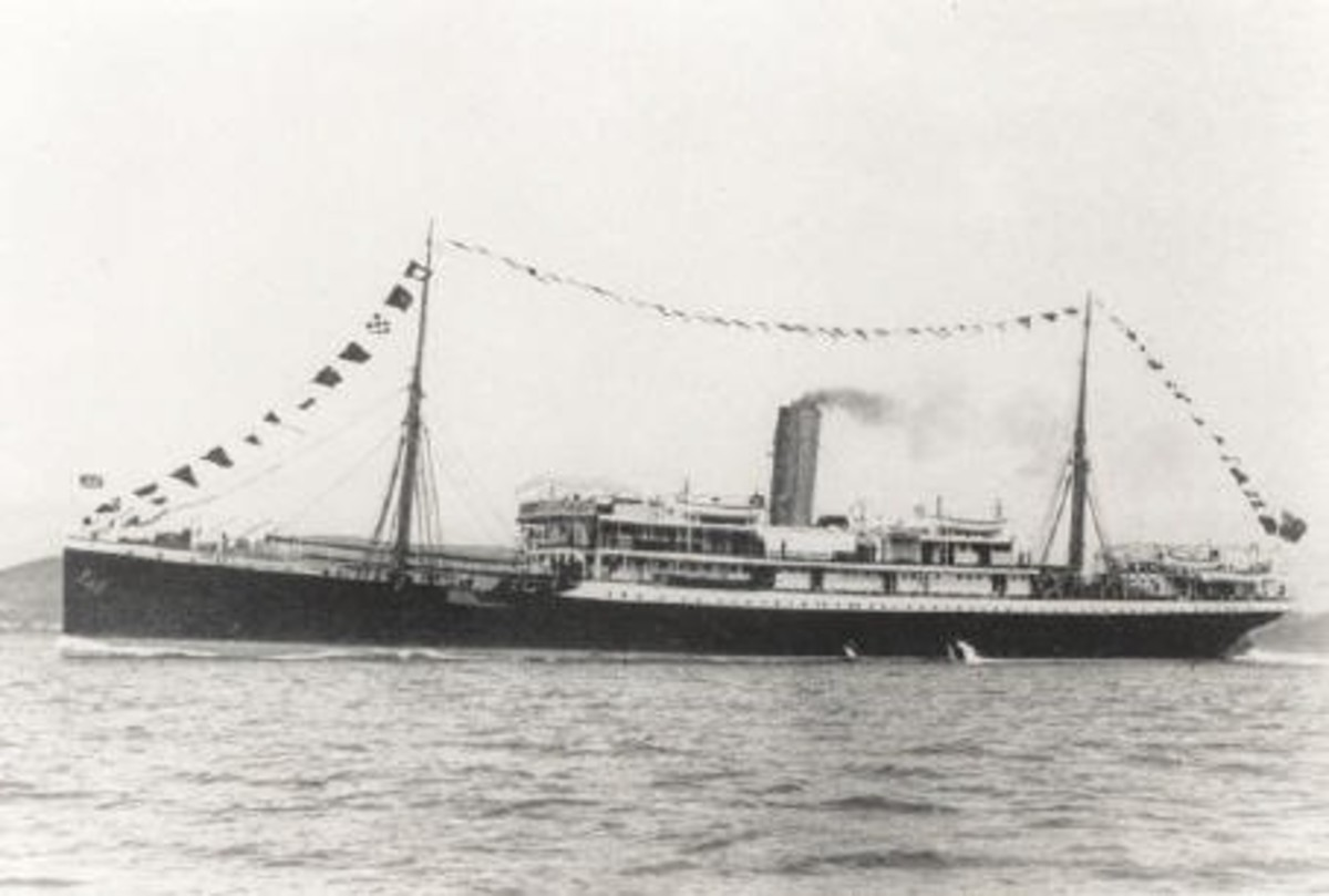 The SS Mendi in happier times as a passenger ship.