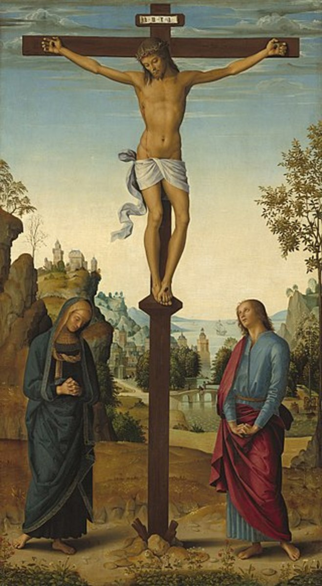 Jesus on the cross speaking to Mary, His mother and John, His beloved disciple