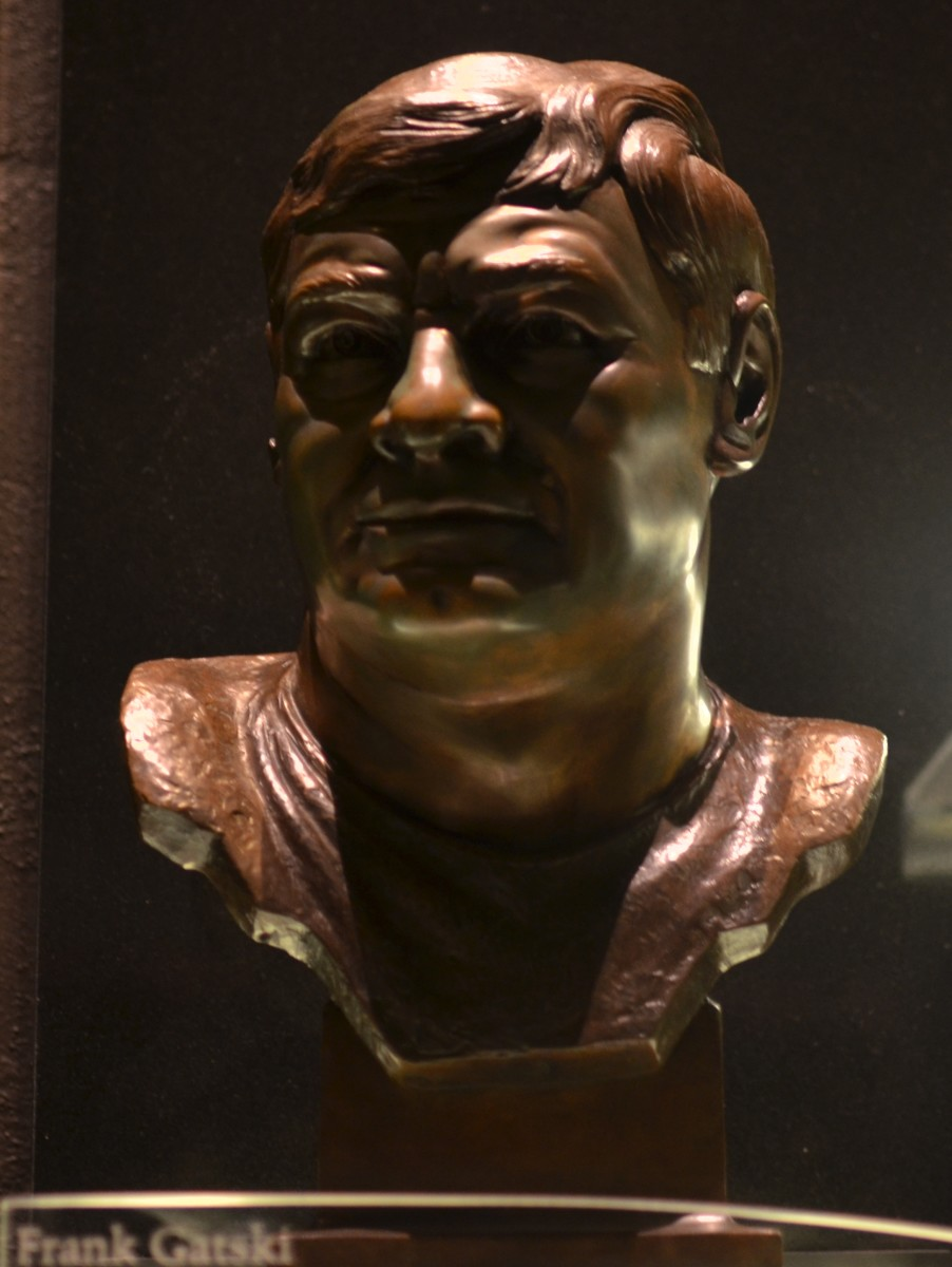 The bust of former Cleveland Browns center, Frank Gatski, as seen in the Pro Football Hall of Fame.