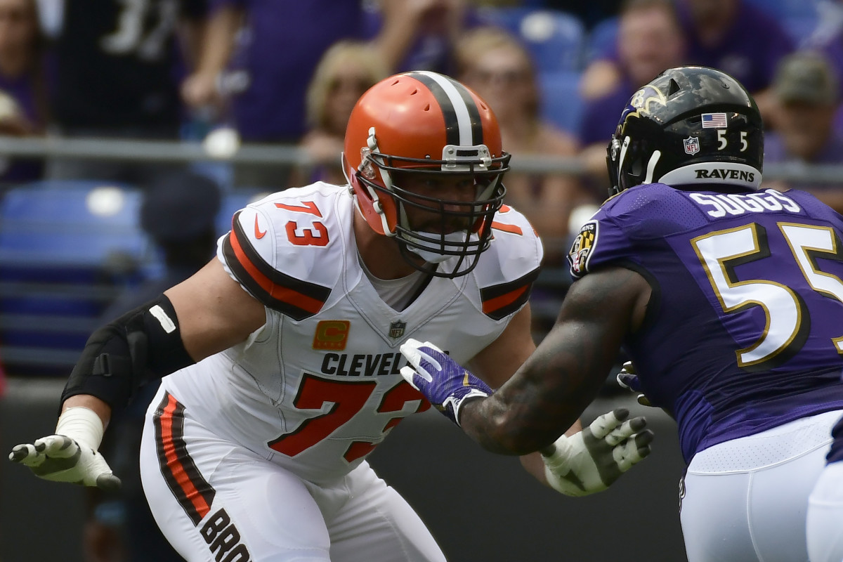 Cleveland Browns left tackle, Joe Thomas (73), blocks Baltimore Ravens outside linebacker, Terrell Suggs (55), during a 2017 game in Baltimore.
