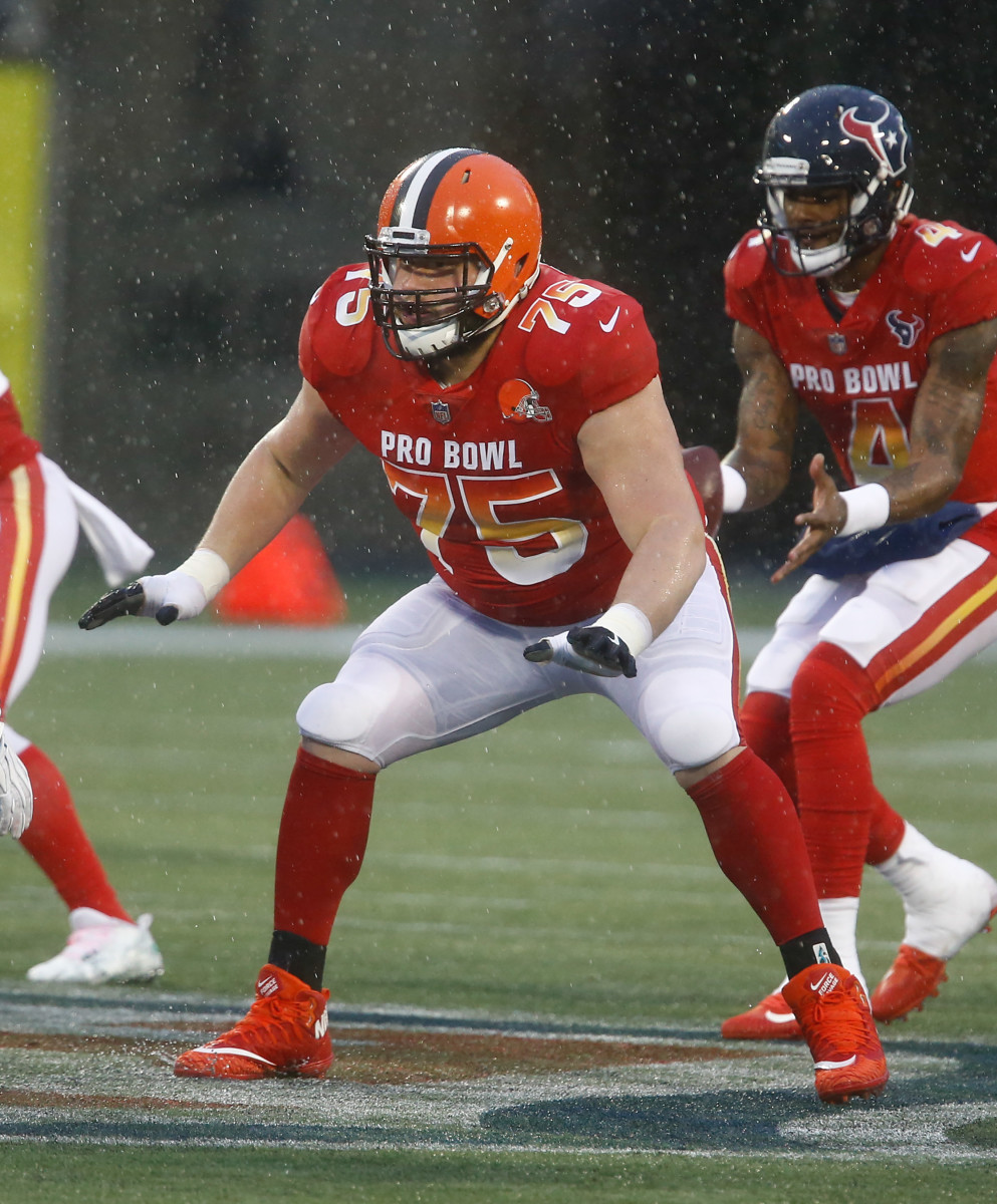 Cleveland Browns offensive guard, Joel Bitonio (75), defends the line of scrimmage during the second half of the NFL Pro Bowl football game at Camping World Stadium in January 2019.