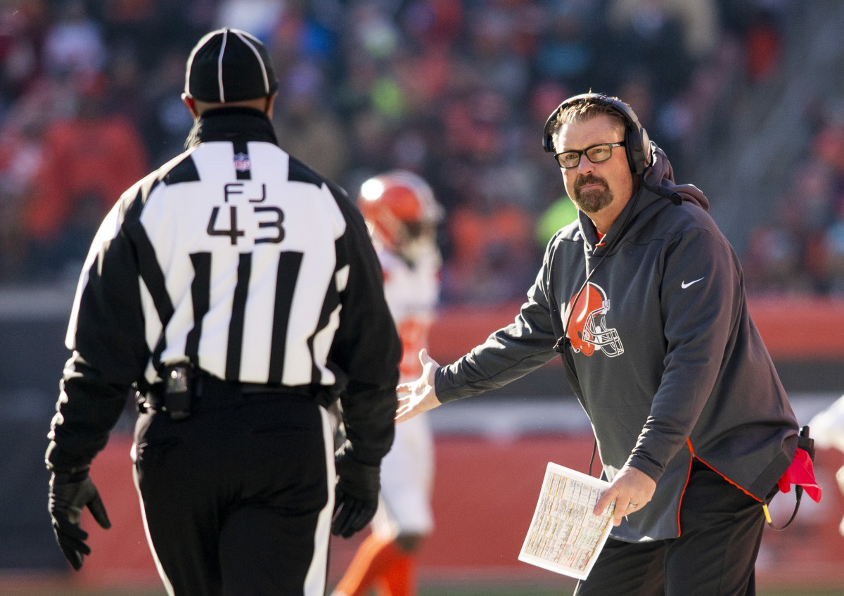 Former Cleveland Browns interim head coach, Gregg Williams, questions an official during a 2018 game. Technically, he is the only Cleveland coach since the 1980s to have a winning career record.