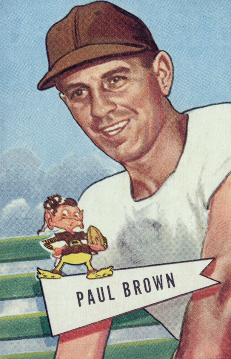 Former Cleveland Browns head coach and Pro Football Hall of Famer, Paul Brown, is pictured on his 1952 Bowman football card. Brown was the first coach of the Cleveland Browns and is the only former coach to be inducted into the Hall of Fame.