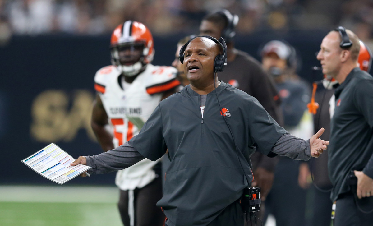 Former Cleveland Browns head coach, Hue Jackson, is seen protesting an officials' decision during the 2018 season. Jackson was one of the most unsuccessful coaches of all-time, going 3-36-1 over 2 1/2 seasons in Cleveland.