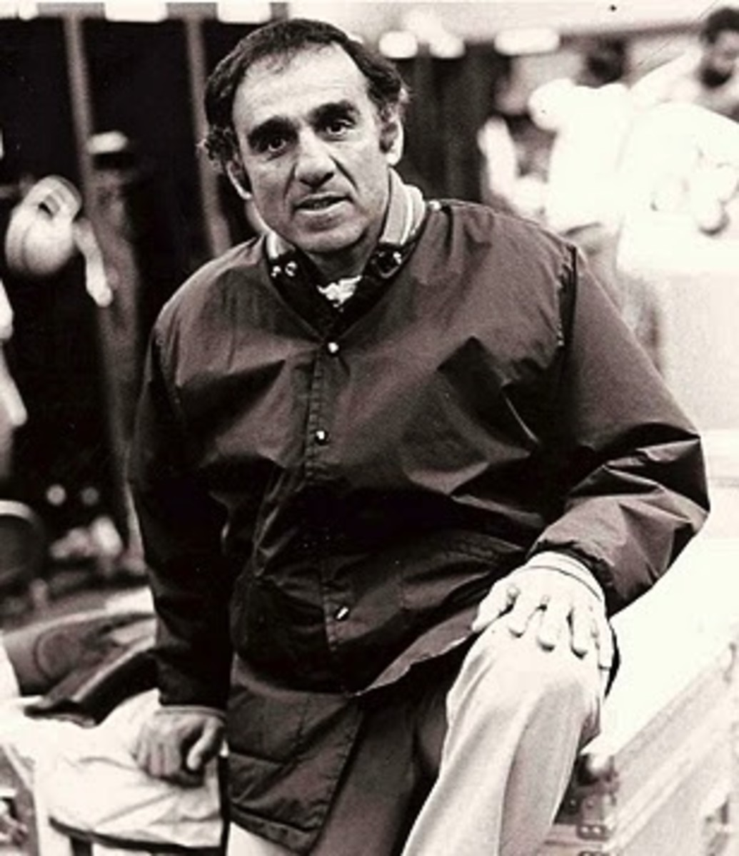 Former Cleveland Browns head coach, Sam Rutigliano, is seen in the locker room during the 1979 season. By finishing the year at 9–7, it was Rutigliano's first winning season at the helm of the Browns.