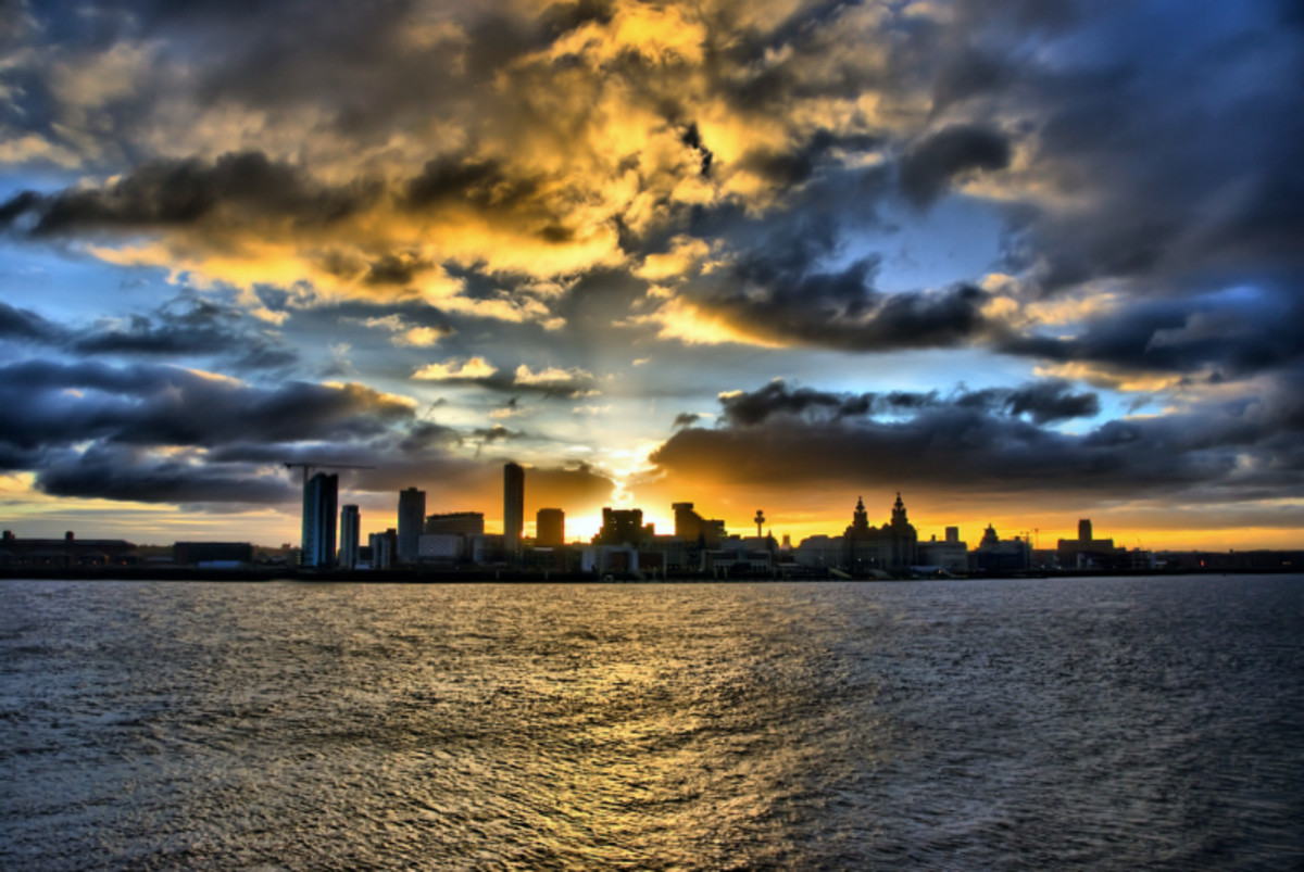 The Liverpool Waterfront captured from across the River Mersey at sunrise