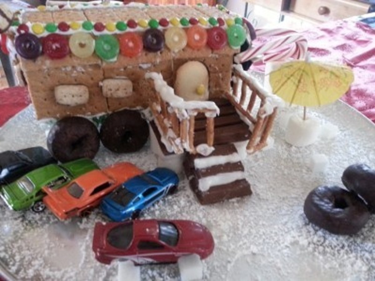 A view of my completed redneck gingerbread trailer