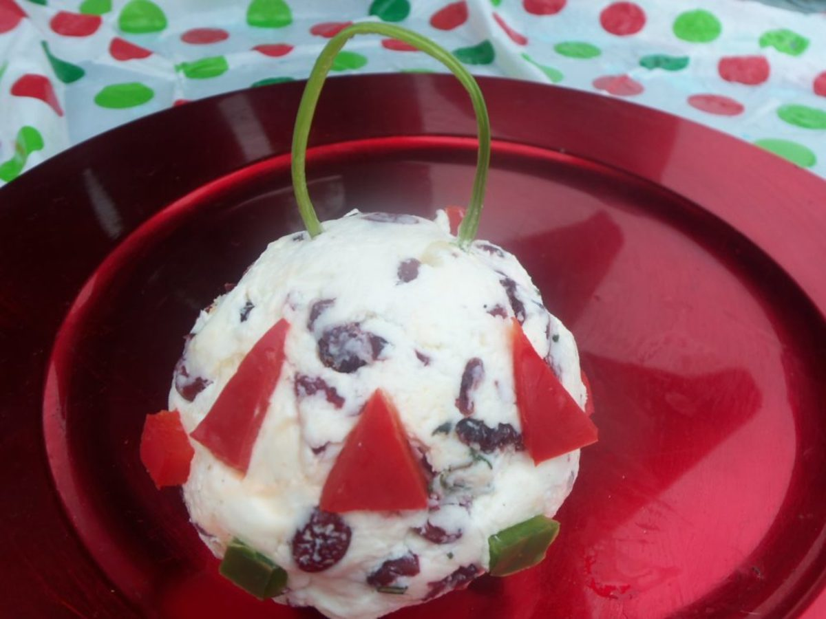 This is my holiday ornament-themed cranberry cheese ball.