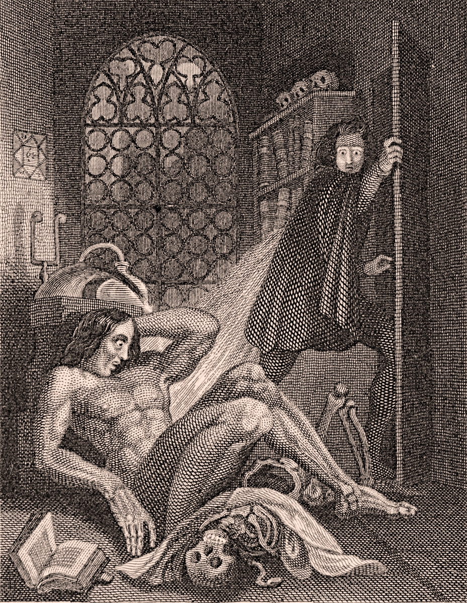 Illustration from the frontispiece of the 1831 revised edition of Frankenstein by Mary Shelley