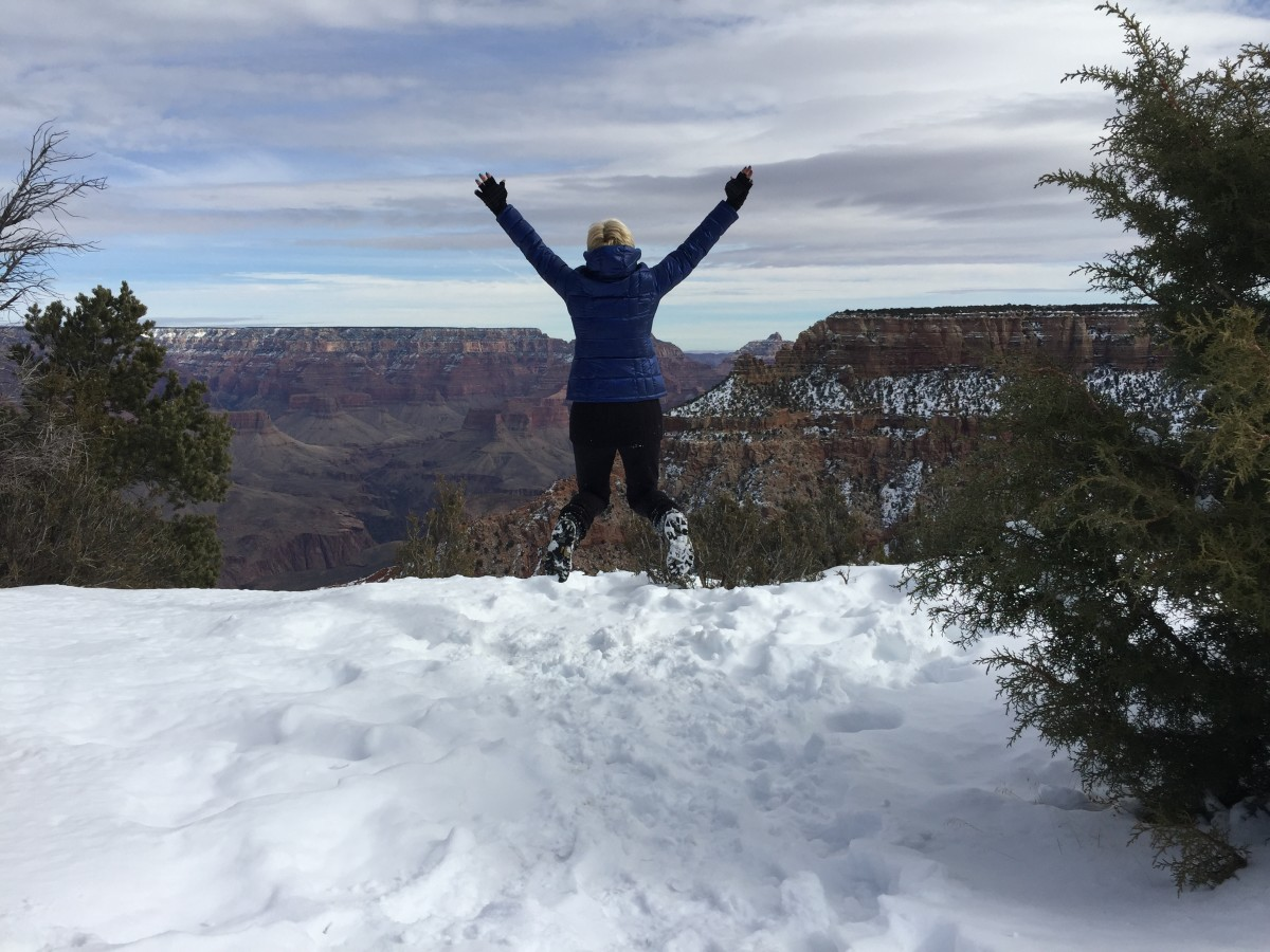 Jumping for Joy in Grand Canyon Snow