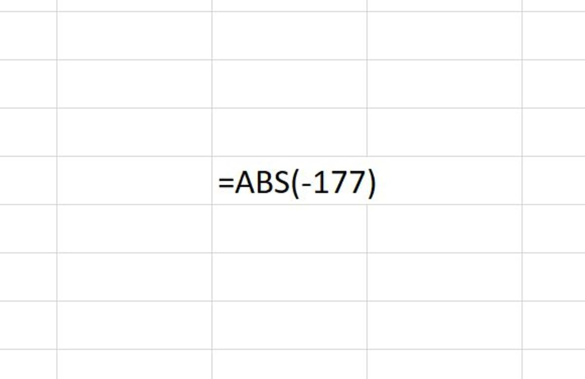 The ABS function appears above as it would when typed into an Excel worksheet.  After this function is entered in the cell it would return a positive 177.