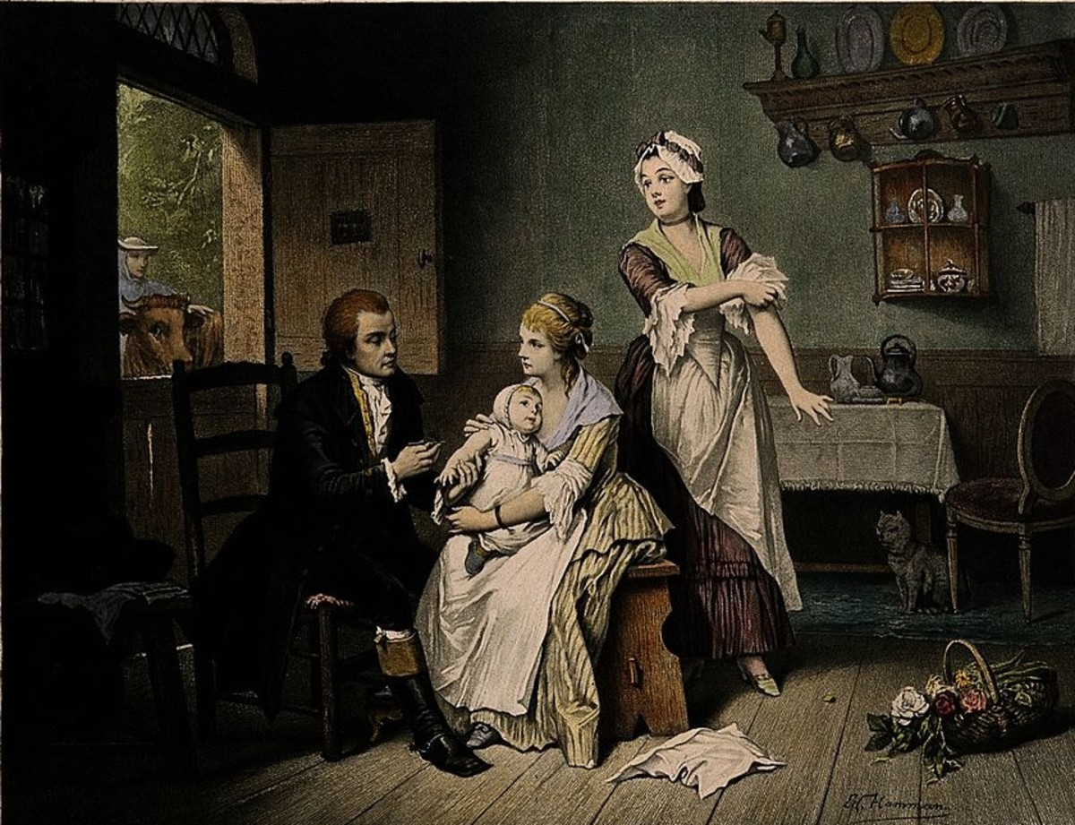 Edward Jenner vaccinates a child while an interested cow looks in through the window.