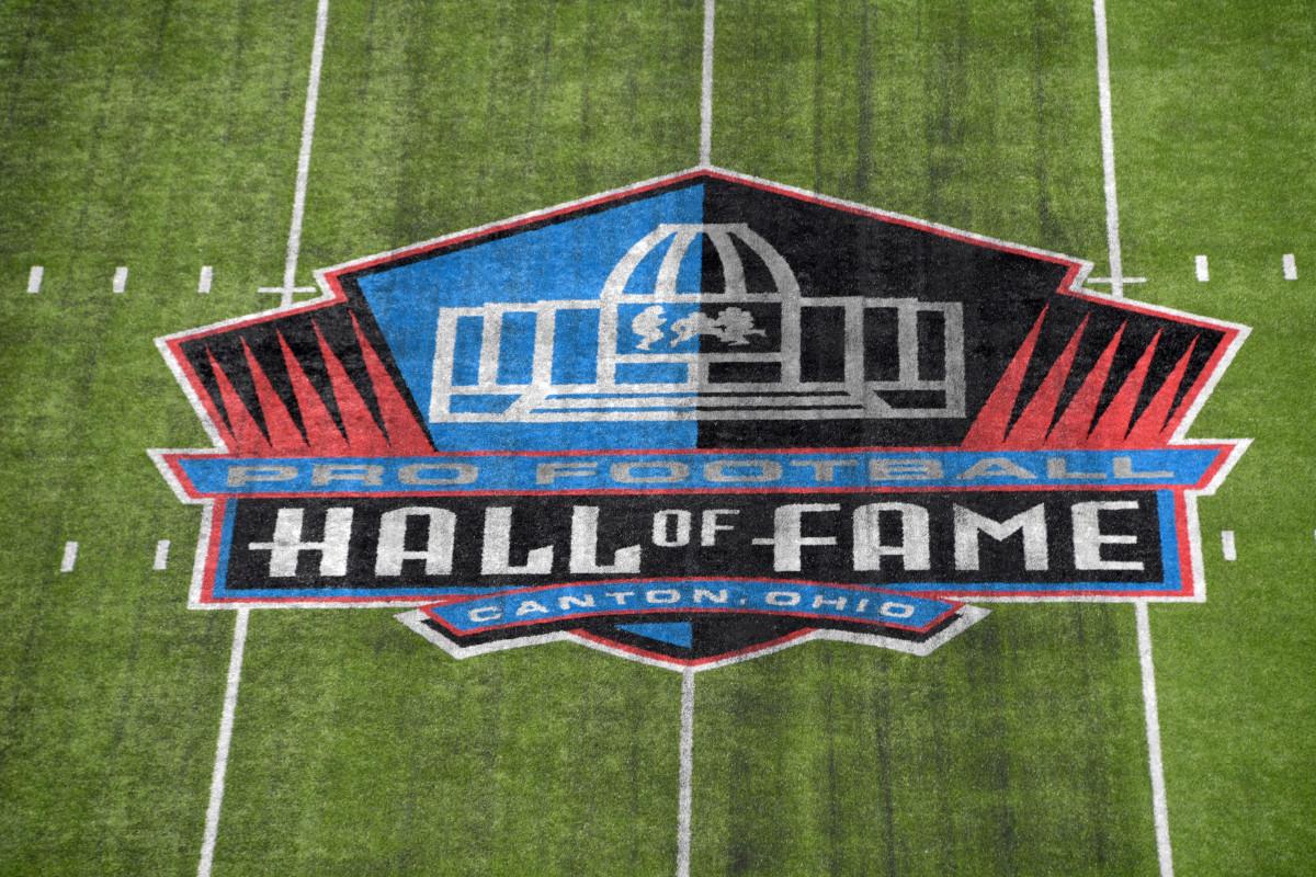 Pro Football Hall of Fame logo at the Tom Benson Hall of Fame Stadium, Canton, Ohio