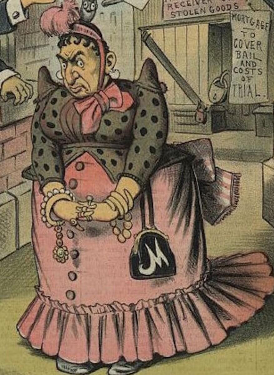"Cartoonist Joseph Keppler's rather prejudicial rendering of Frederika ""Marm"" Mandelbaum."