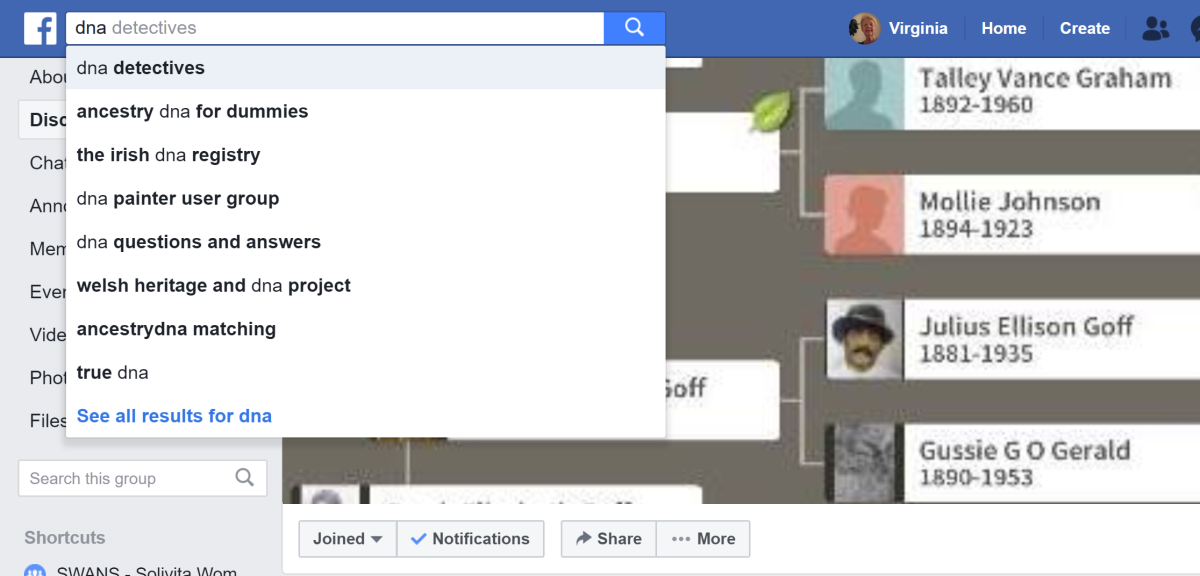 A sampling of DNA groups on Facebook.