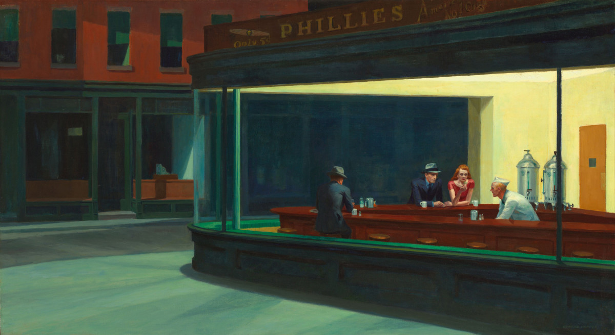 Nighthawks, painting by Edward Hopper (1942); original work is owned by Art Institute of Chicago, image is courtesy of Wikimedia Commons. This work is considered to be in the public domain within the United States of America.