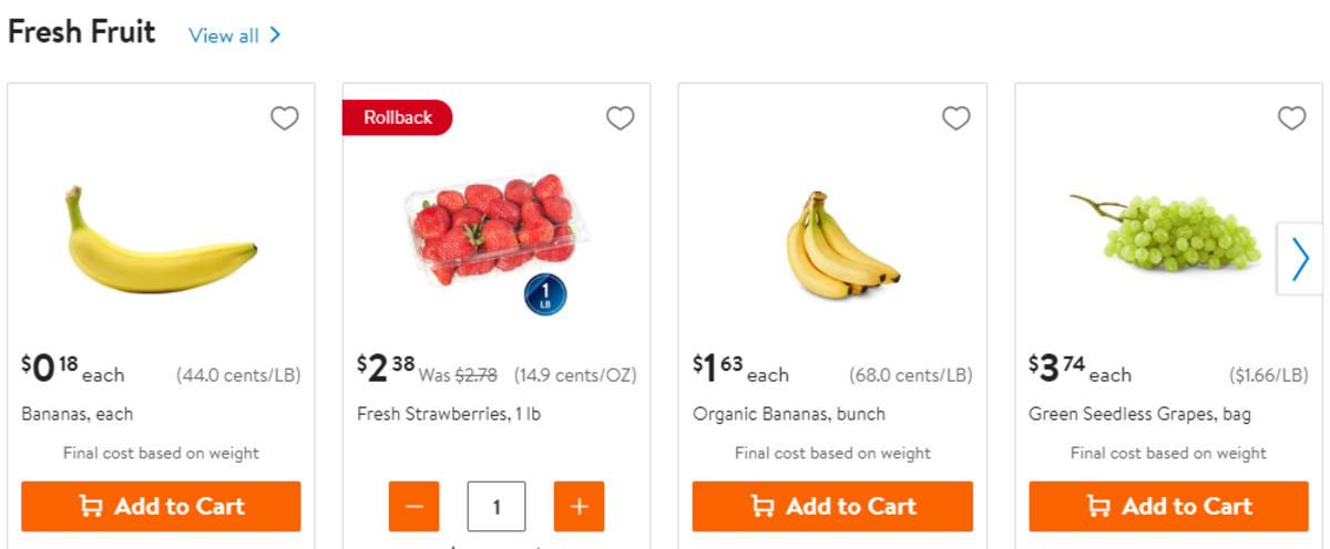 Walmart fruit section online