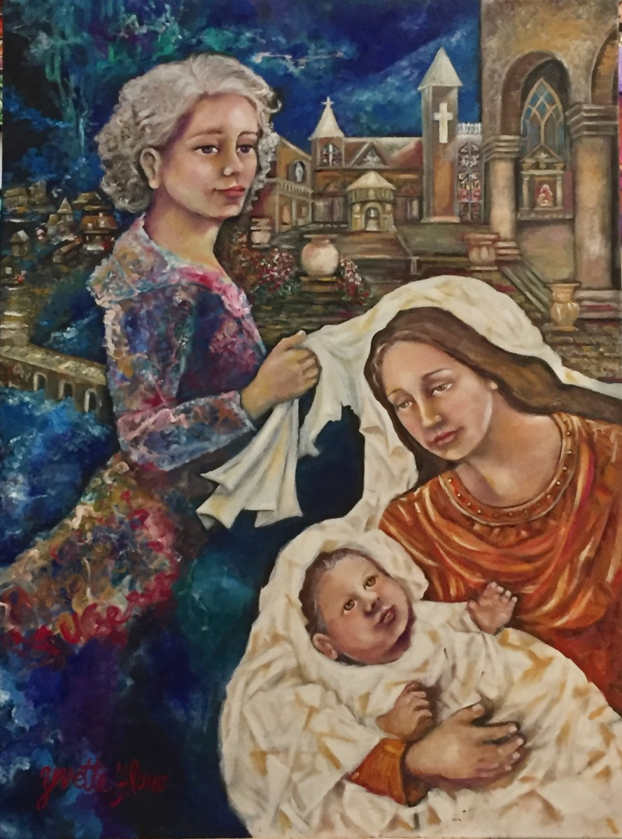 Annabelle positions  the white shawl on the beggar and on  her child  to keep them warm on the damp night