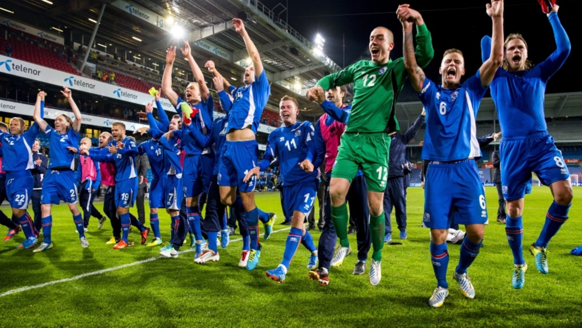 Iceland players following a 2014 FIFA World Cup qualifying match against Norway on Oct. 13, 2013 at Ullevaal Stadium in Oslo. Iceland recorded a 1-1 draw, and coupled with Switzerland's 1-0 win agaisnt Slovenia, to reach the playoffs.