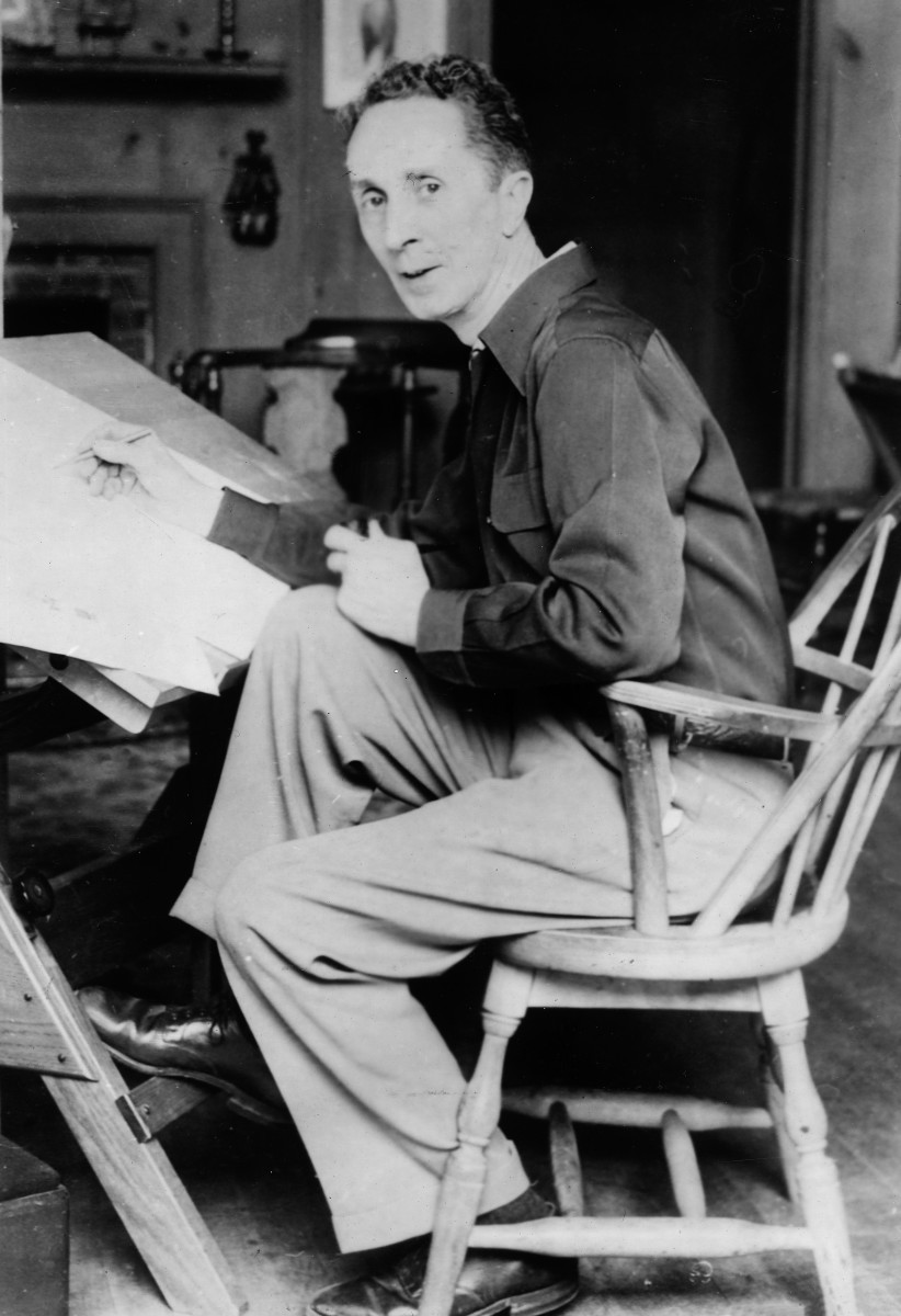 Norman Rockwell at his studio