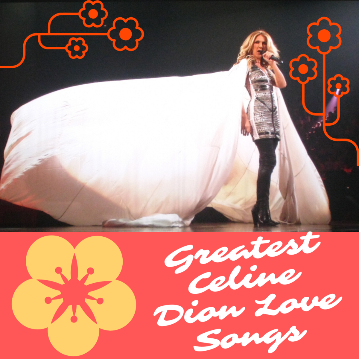 """Céline Dion on stage performing """"Eyes on Me"""" during her Taking Chances Tour in Montréal, Canada."""