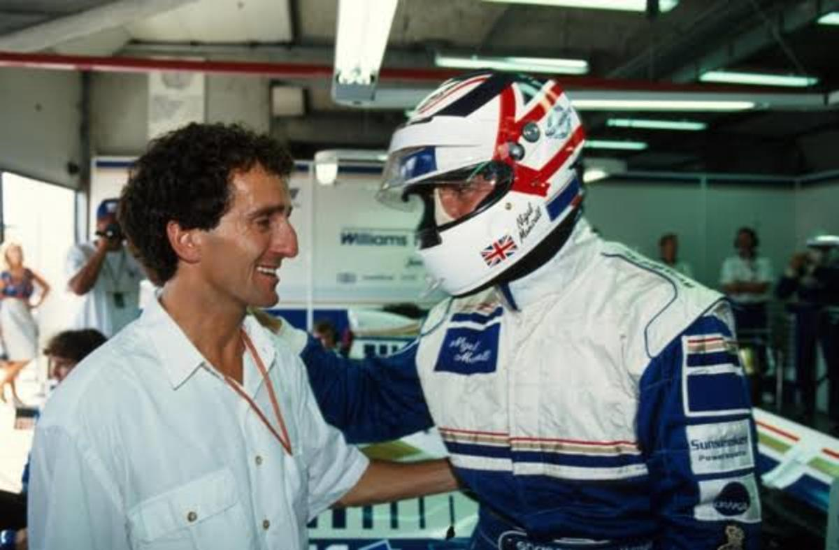 Nigel Mansell, who made a comeback to F1, meeting Alain Prost