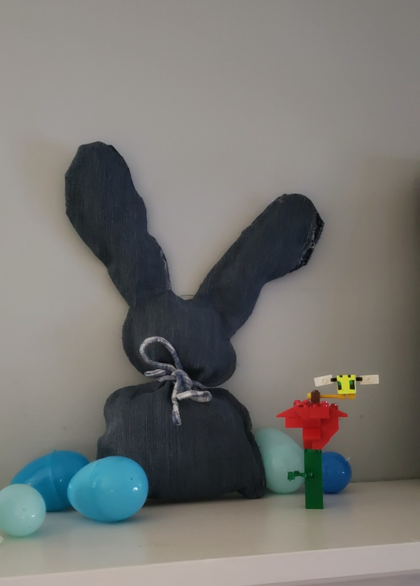 This is what my completed denim Easter bunny stuffed craft looks like.