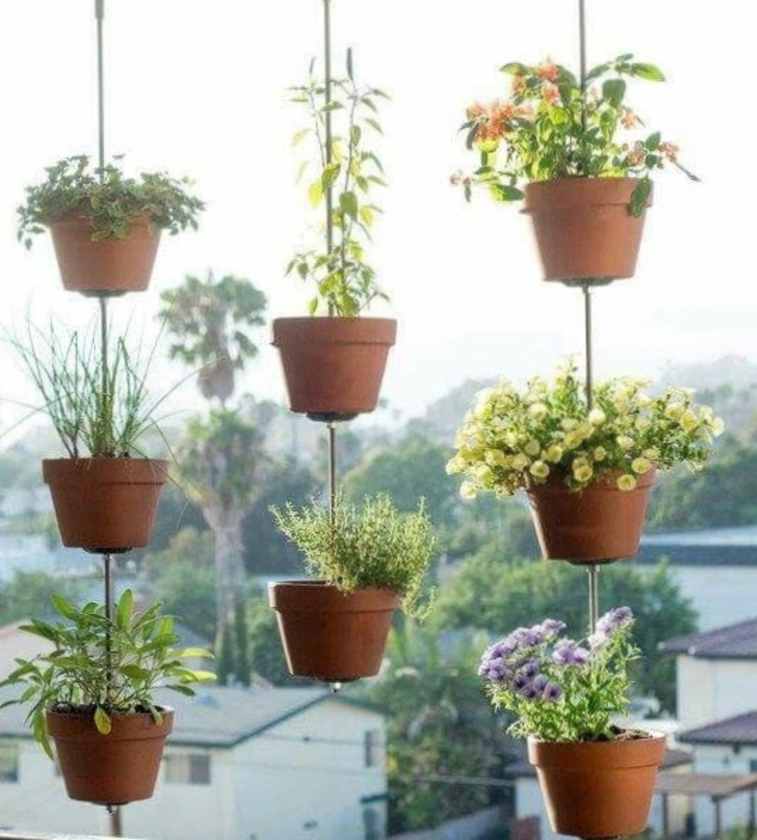 Patio or deck herb hanger
