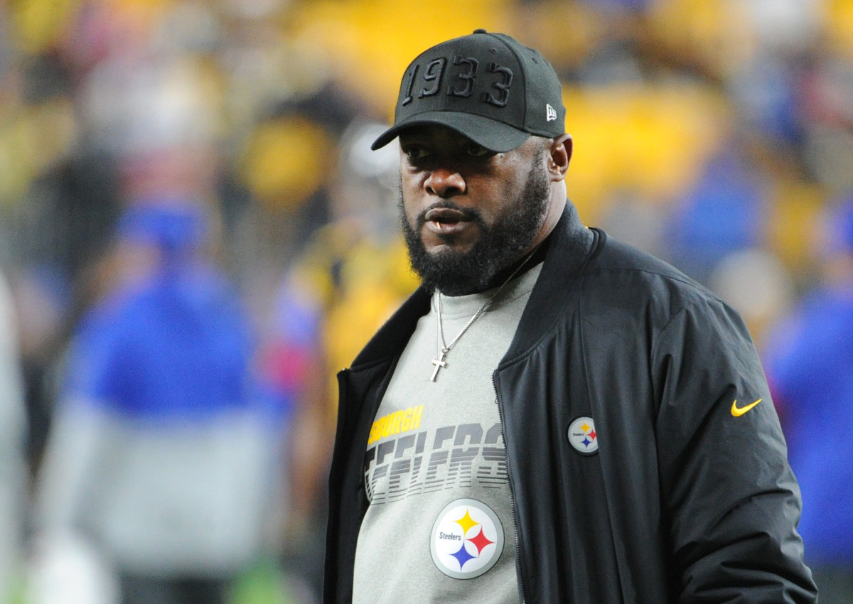 Dec 15, 2019; Pittsburgh Steelers head coach Mike Tomlin watches over his team before playing the Buffalo Bills at Heinz Field.