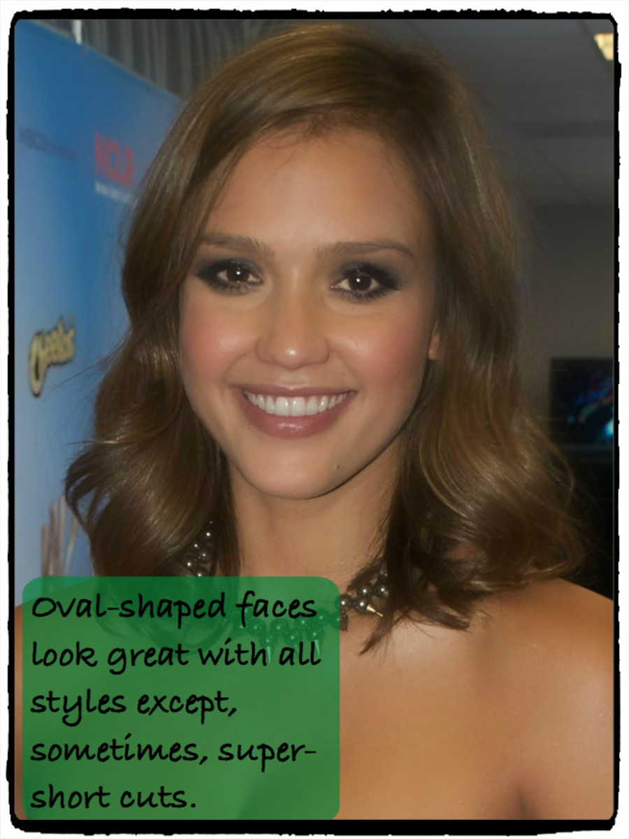 Jessica Alba can wear just about any style because of her oval-shaped face. She might want to avoid super-short cuts in case her head isn't as perfectly shaped as her face.