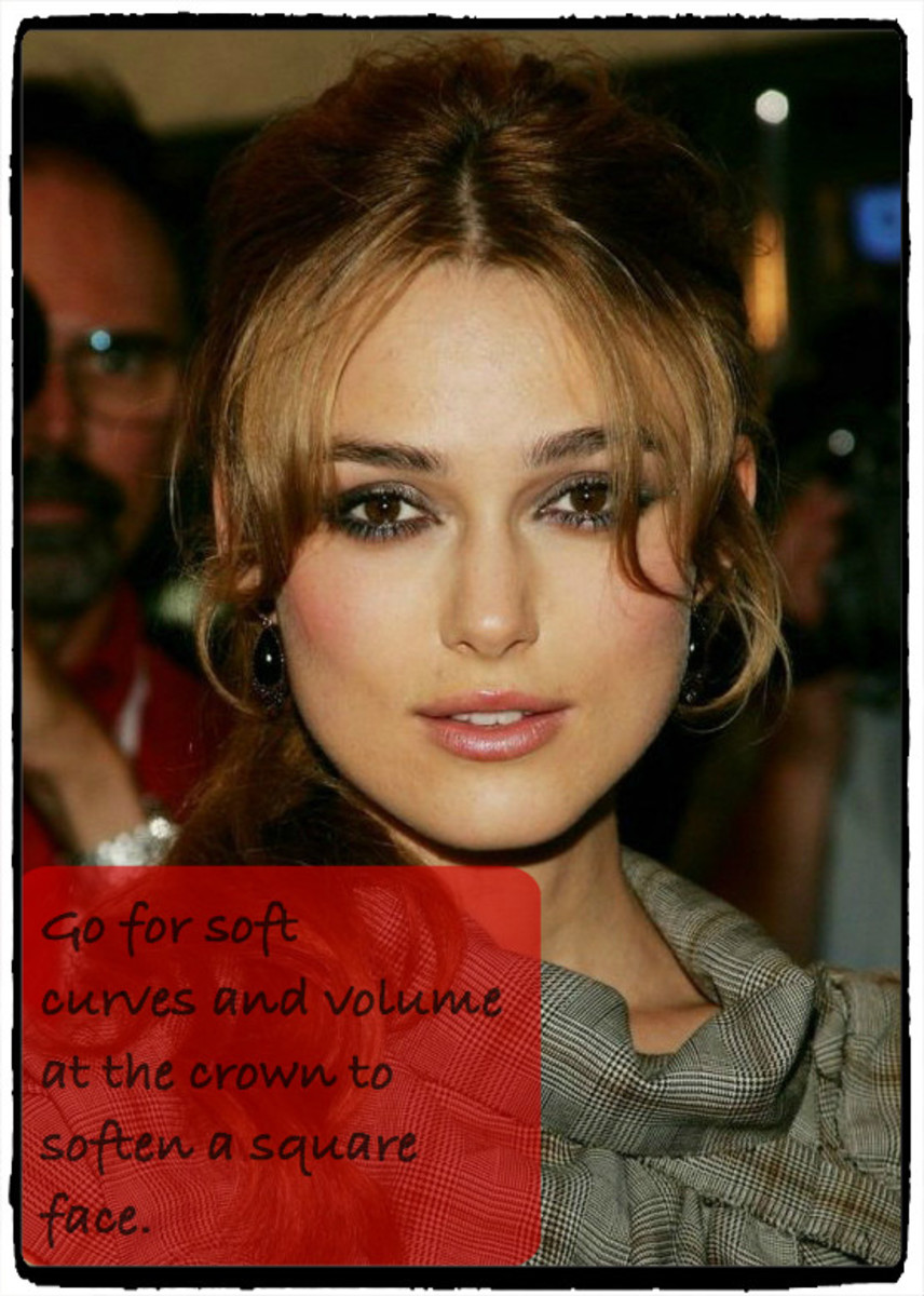 Keira Knightley has a square-shaped face, which looks best with soft curves, asymmetrical cuts, and volume at the crown.