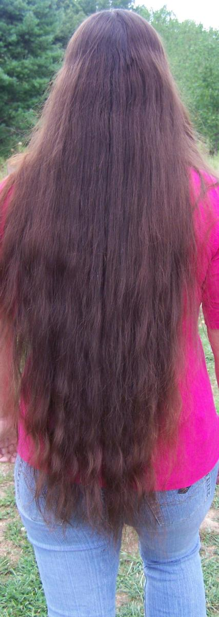 Authors hair after using the cream shampoo. It is clean, soft and manageable.