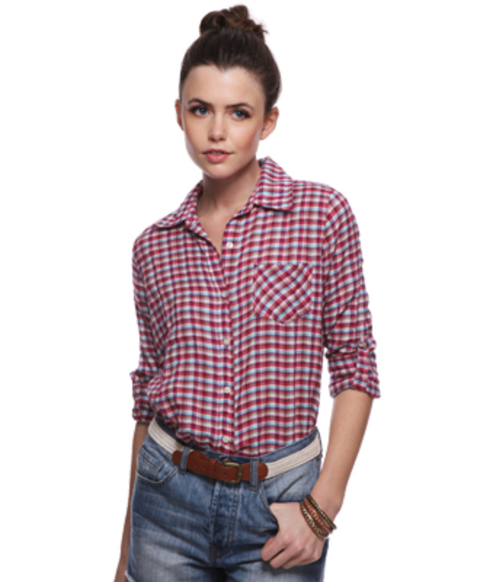 Plaid shirt at forever21.com for a tougher look.