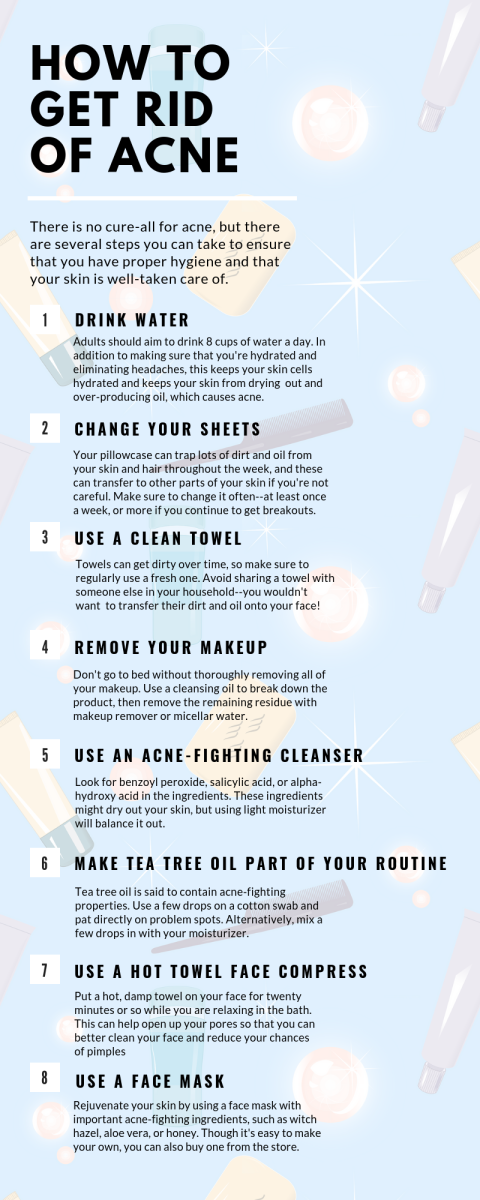 There is no sure-fire way to get ride of acne, but there are several things you can do to at least keep proper hygiene.
