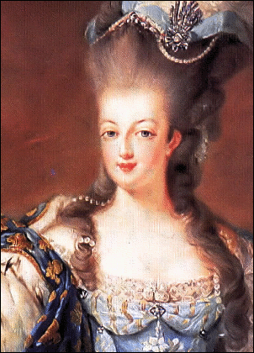 Marie Antoinette showing off her poufy style: