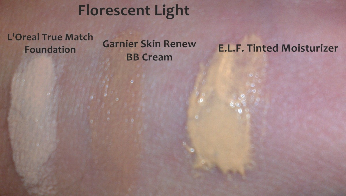 BB Cream, Foundation and Tinted Moisturizer under florescent light