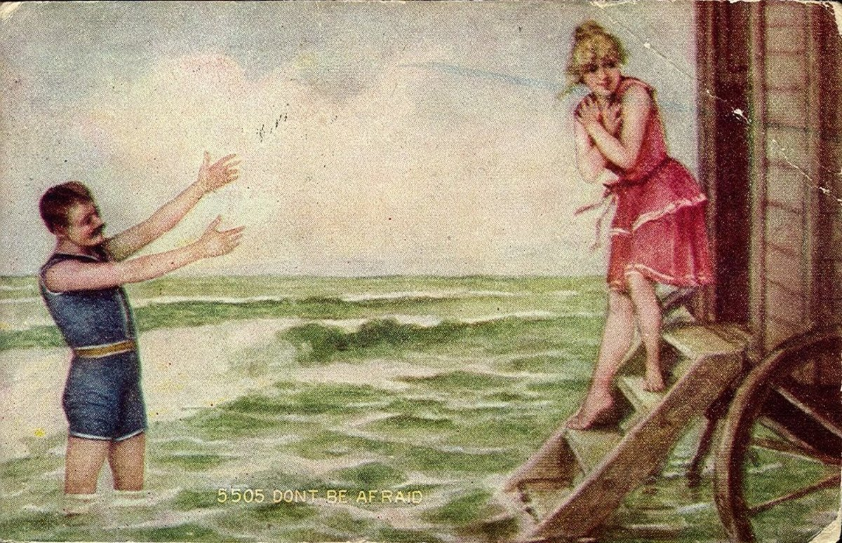 This1910 Postcard Depicts an Old Fashioned Beach Scene