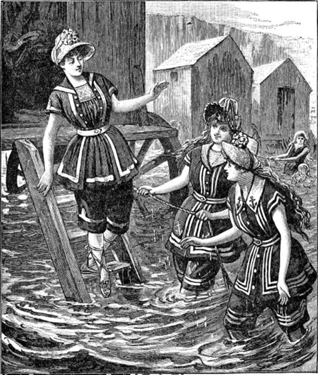 Women in Victorian Bathing Costumes circa 1887