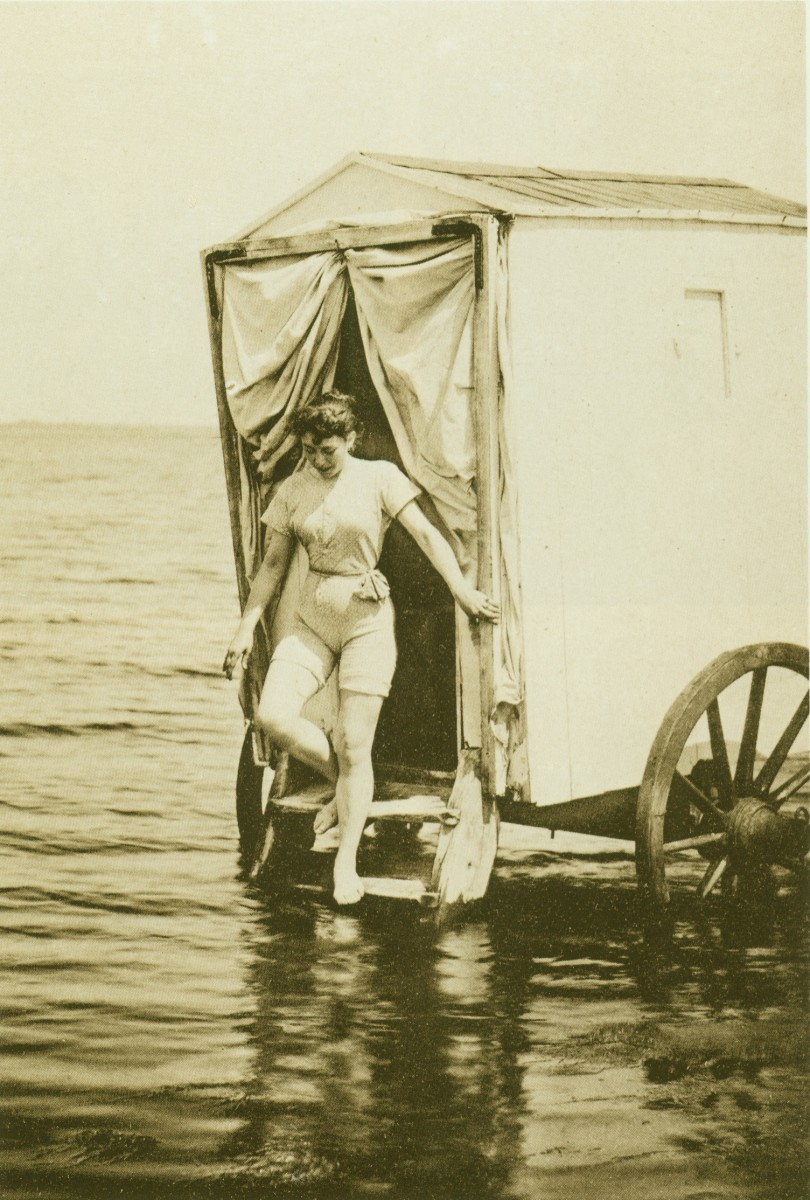 Late Victorian bathing machine and bather