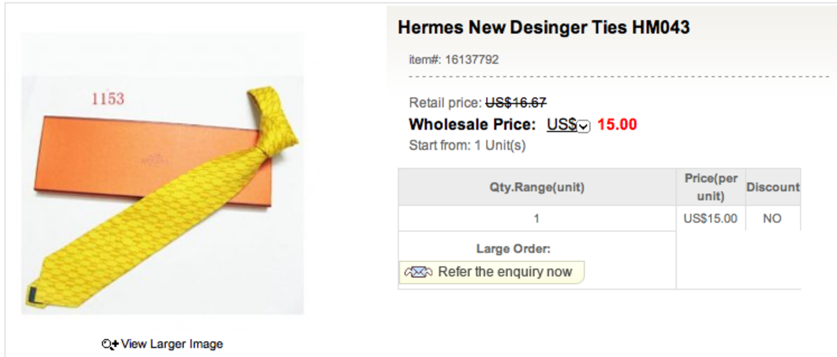 "Can you believe this?  A Hermès tie being marketed for $15 under the ""cheap replica"" moniker.  The spelling error in the title of the product is also a good give-away!"