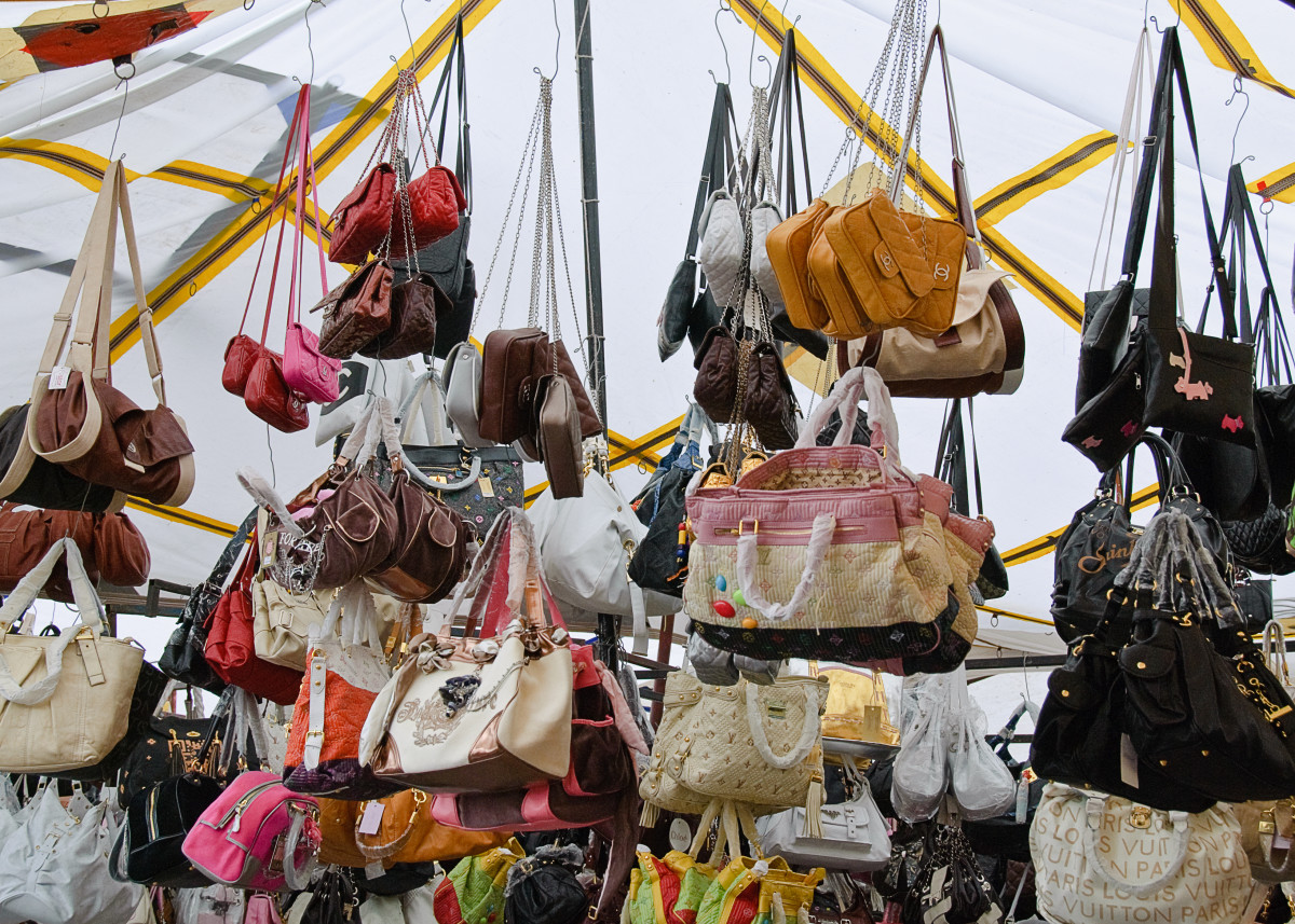 fake designer handbags are readily available in markets such as this in Turkey.