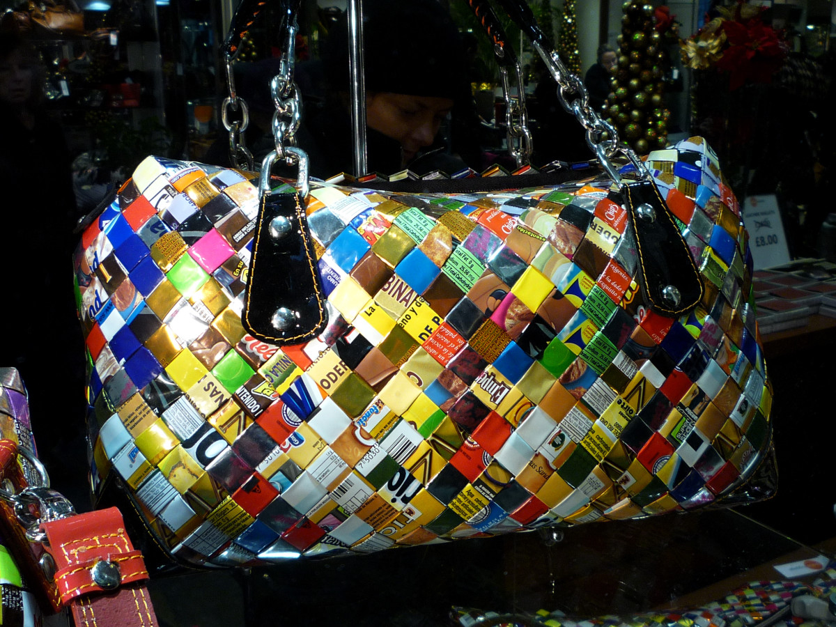 colourful handbag made from recycled materials.
