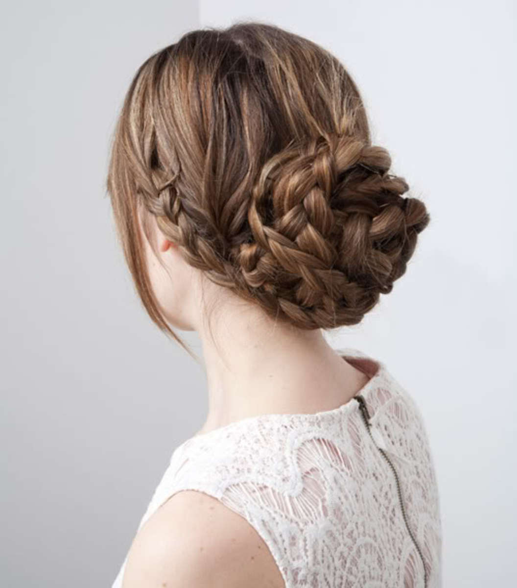 Braided bun with side French braid