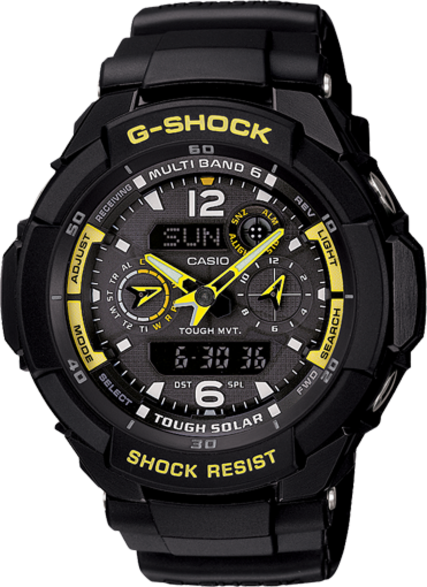 The GW3500B-1A is the lightest watch in the Aviation Range.