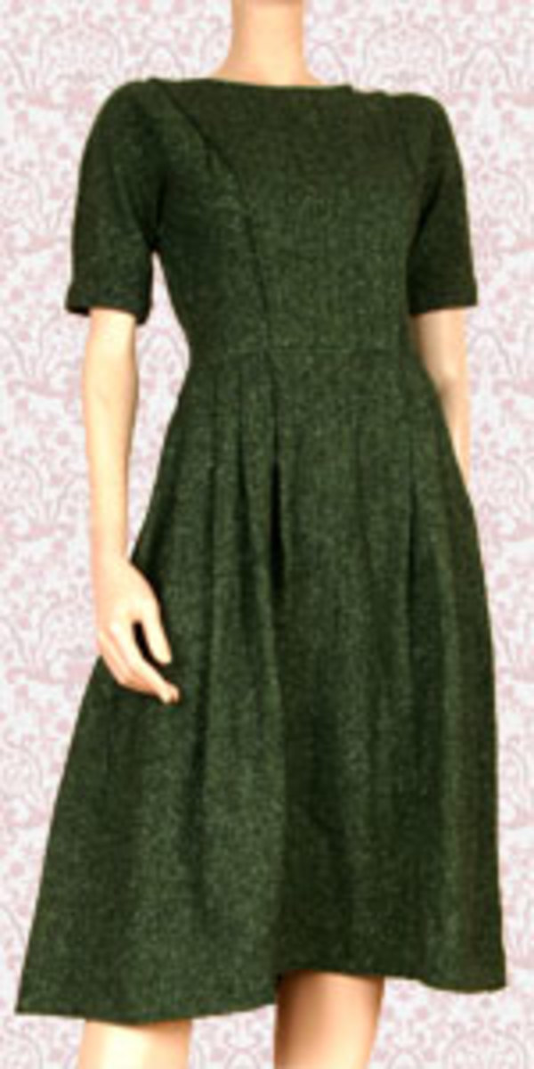 This green dress is an authentic vintage find!